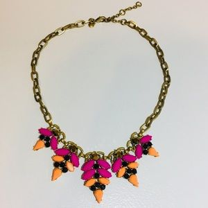J Crew Pink Black Orange Statement Gold Necklace